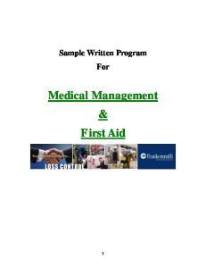 Sample Written Program For. Medical Management & First Aid