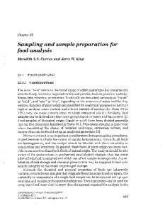 Sampling and sample preparation for food analysis