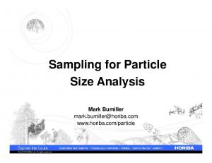 Sampling for Particle Size Analysis
