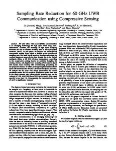 Sampling Rate Reduction for 60 GHz UWB Communication using Compressive Sensing