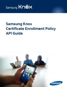 Samsung Knox Certificate Enrollment Policy API Guide