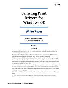 Samsung Print Drivers for Windows OS