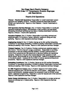 San Diego Gas & Electric Company FERC Order 717 Transmission Function Employee Job Descriptions. Electric Grid Operations