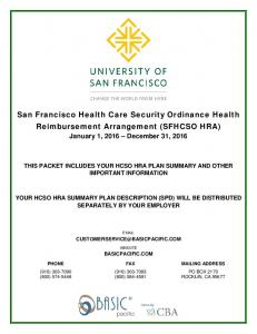 San Francisco Health Care Security Ordinance Health Reimbursement Arrangement (SFHCSO HRA)