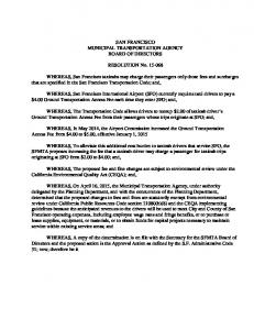 SAN FRANCISCO MUNICIPAL TRANSPORTATION AGENCY BOARD OF DIRECTORS. RESOLUTION No