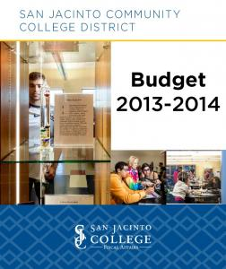 San Jacinto Community College District. Budget
