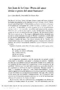 San Juan de la Cruz: Poeta del amor divino o poeta del amor humano? 1