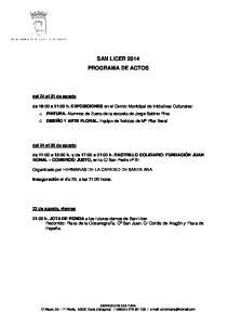 SAN LICER 2014 PROGRAMA DE ACTOS