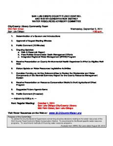 SAN LUIS OBISPO COUNTY FLOOD CONTROL AND WATER CONSERVATION DISTRICT WATER RESOURCES ADVISORY COMMITTEE