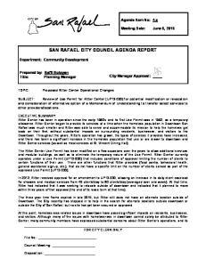 SAN RAFAEL CITY COUNCIL AGENDA REPORT