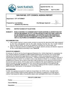 SAN RAFAEL CITY COUNCIL AGENDA REPORT