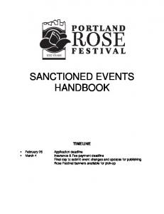 SANCTIONED EVENTS HANDBOOK