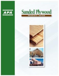 Sanded Plywood p r o d u c t g u i d e