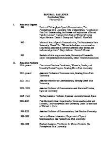 SANDRA L. FAULKNER Curriculum Vitae February 2016