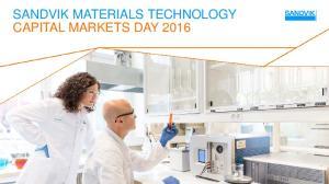 SANDVIK MATERIALS TECHNOLOGY CAPITAL MARKETS DAY 2016