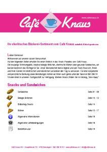 Sandwiches Seite Belegte Brötchen Seite Blätterteig-Snacks Seite 14. Wähen Seite Allgemeine Informationen Seite 18