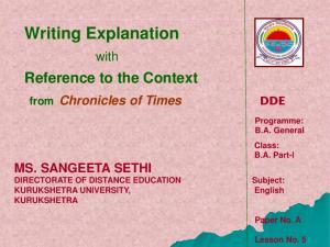 SANGEETA SETHI DIRECTORATE OF DISTANCE EDUCATION