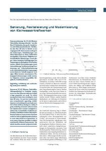 Sanierung, Revitalisierung und Modernisierung von Kleinwasserkraftwerken