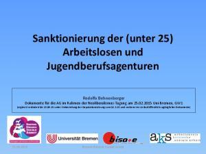 Sanktionierung der (unter 25) Arbeitslosen und Jugendberufsagenturen