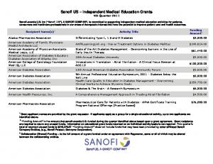 Sanofi US Independent Medical Education Grants 4th Quarter 2011