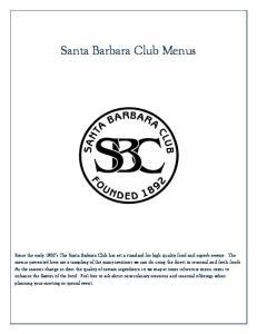 Santa Barbara Club Menus