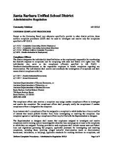 Santa Barbara Unified School District Administrative Regulation