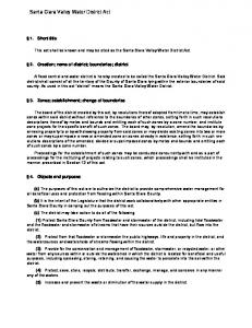 Santa Clara Valley Water District Act