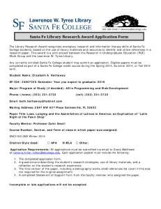 Santa Fe Library Research Award Application Form