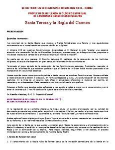 Santa Teresa y la Regla del Carmen