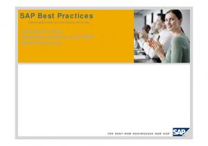 SAP Best Practices. Prepackaged Industry & Cross-Industry Know-How. Jumpstart your Implementations with SAP Best Practices
