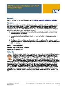 SAP Business Workplace Vs SAP WebUI Worklist