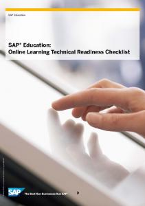 SAP Education: Online Learning Technical Readiness Checklist