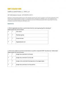SAP EDUCATION SAMPLE QUESTIONS: C_THR12_67. Questions
