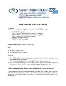 SAP Financials: Financial Accounting