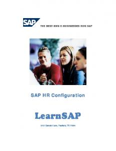 SAP HR Configuration. LearnSAP Camden Lane, Pearland, TX 77584