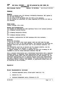 SAP Note SAP BW powered by SAP HANA DB: Information