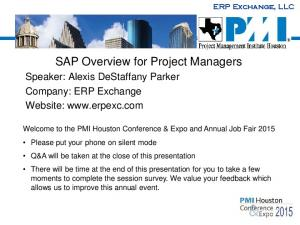SAP Overview for Project Managers