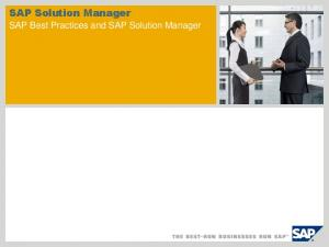 SAP Solution Manager. SAP Best Practices and SAP Solution Manager