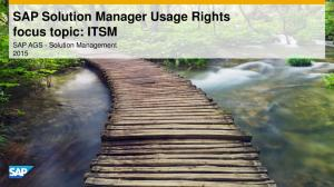 SAP Solution Manager Usage Rights focus topic: ITSM. SAP AGS - Solution Management 2015