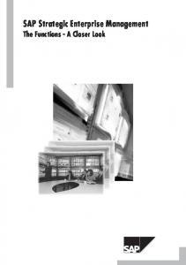 SAP Strategic Enterprise Management. TheFunctions-ACloser Look