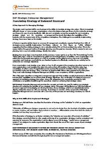 SAP Strategic Enterprise Management Translating Strategy of Balanced Scorecard