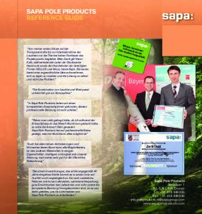 SAPA POLE PRODUCTS REFERENCE GUIDE