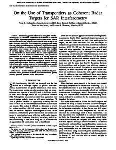 SAR interferometry (InSAR) has emerged over the last