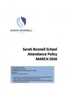Sarah Bonnell School Attendance Policy MARCH 2016