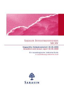 Sarasin Investmentfonds SICAV