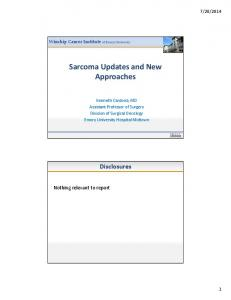 Sarcoma Updates and New Approaches