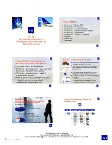 SAS AB Result Analyst Presentation Third Quarter 2002, November 13 Stockholm, London
