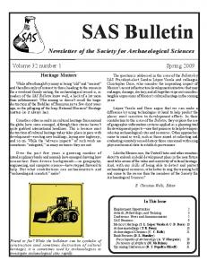 SAS Bulletin. Newsletter of the Society for Archaeological Sciences. Volume 32 number 1 Spring Heritage Matters