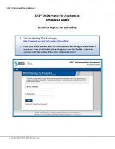 SAS OnDemand for Academics: Enterprise Guide