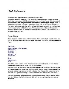 SAS Reference. Data Steps